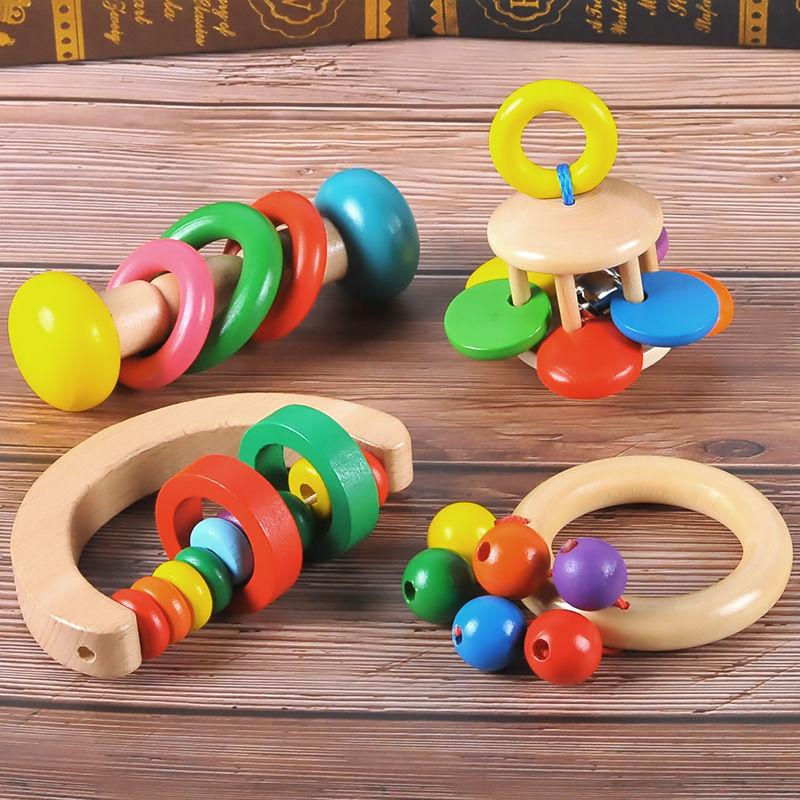 婴幼儿木制床铃启蒙乐器手摇铃新生儿早教音乐益智玩具0-1岁