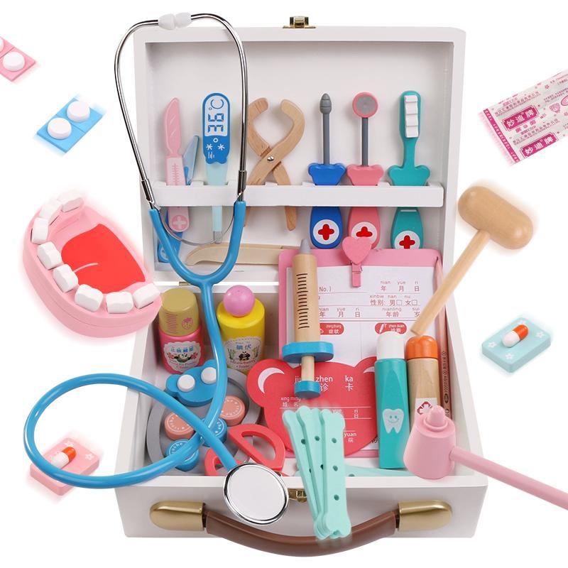 儿童小医生玩具套装女孩木制医疗箱打针护士男宝宝3-6岁过家家