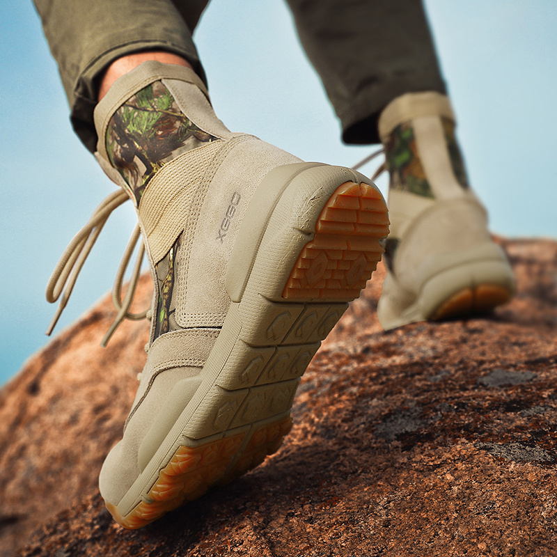 Outdoor mountaineering shoes womens anti slip shock absorption high top camouflage desert boots mens light and breathable cross country mountaineering boots womens