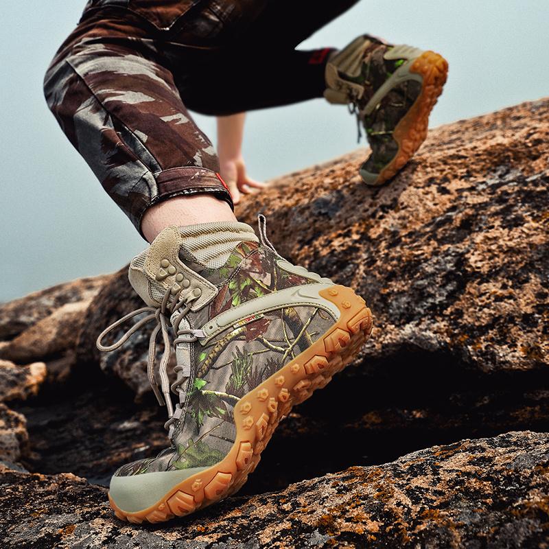 高帮迷彩登山鞋女防水防滑户外徒步鞋女夏季运动爬山旅行鞋沙漠靴