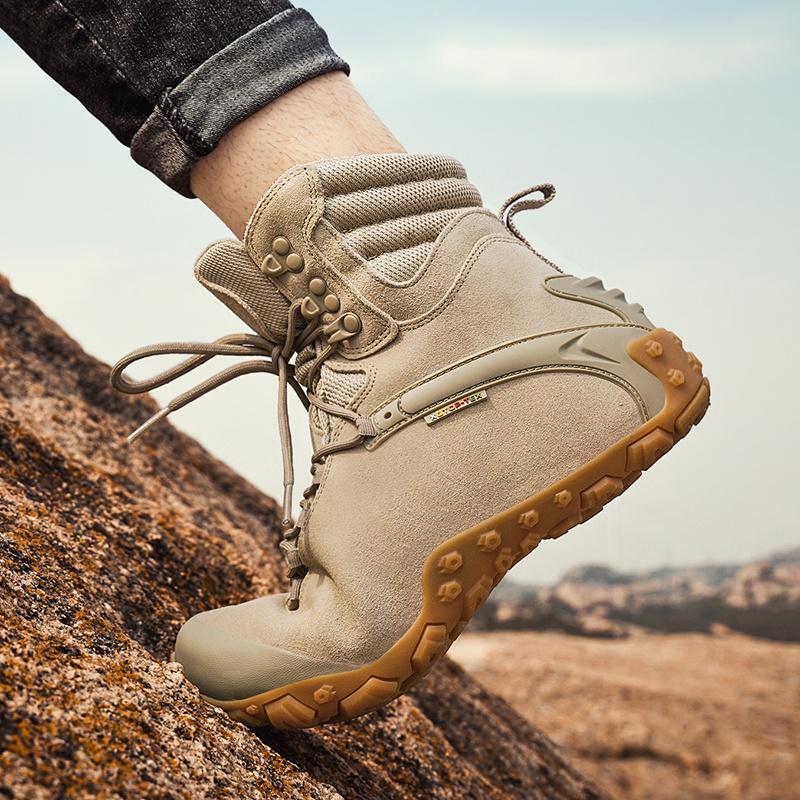户外登山鞋女防水防滑高帮迷彩徒步鞋男牛皮越野运动爬山鞋沙漠靴