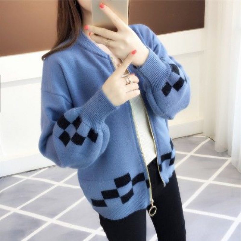 C34 Korean Short color matching with 2021 spring and autumn new knitted cardigan loose Lantern Sleeve Sweater for women