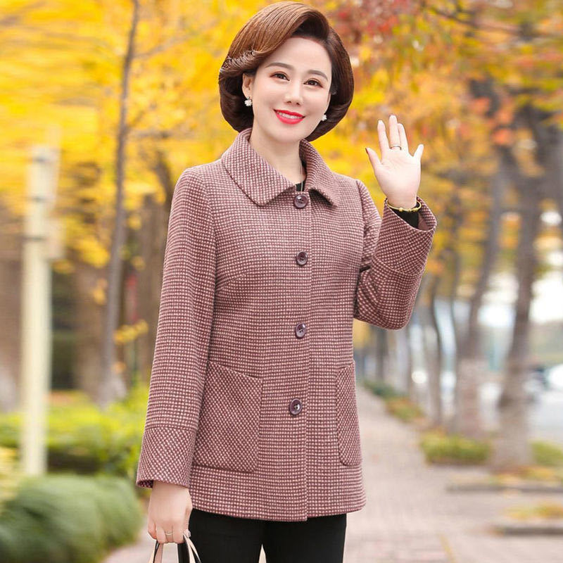 44 mom autumn winter 2020 new woolen jacket short middle-aged and old womens qianniaoge woolen jacket