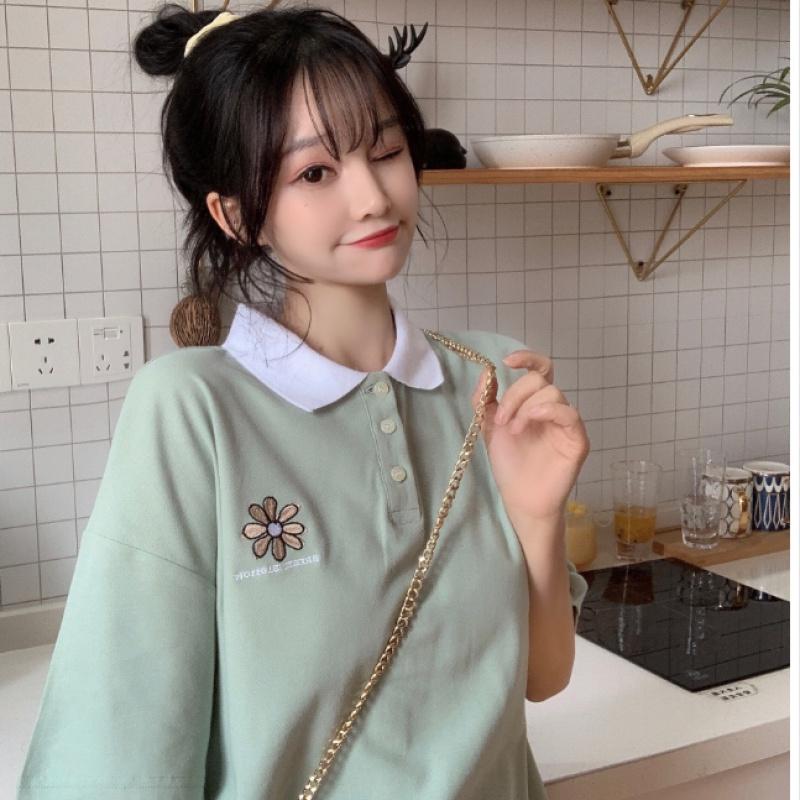 短袖T恤女2020夏季新款韩版宽松polo衫网红百搭洋气打底衫9