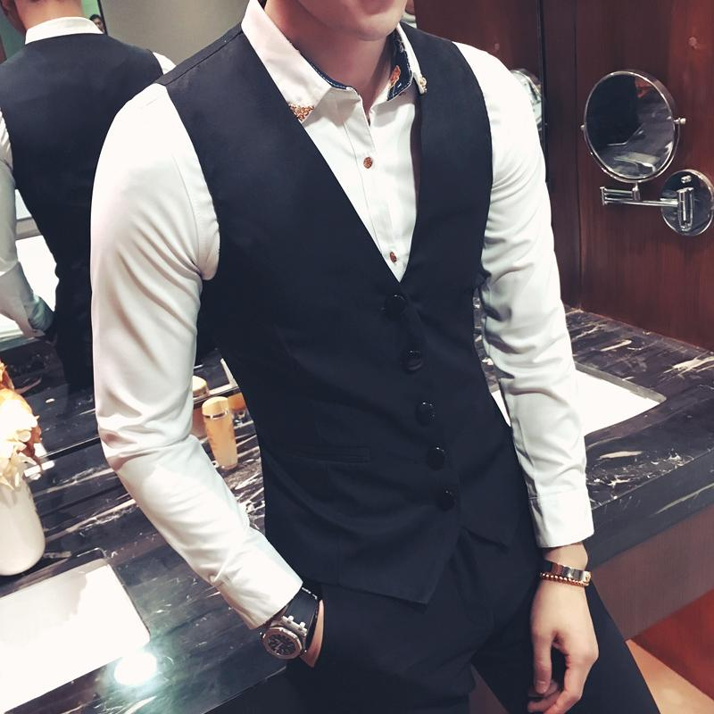 Casual fashion mens suit vest spring and autumn thin plus size vest mens slim personality Han bianchao