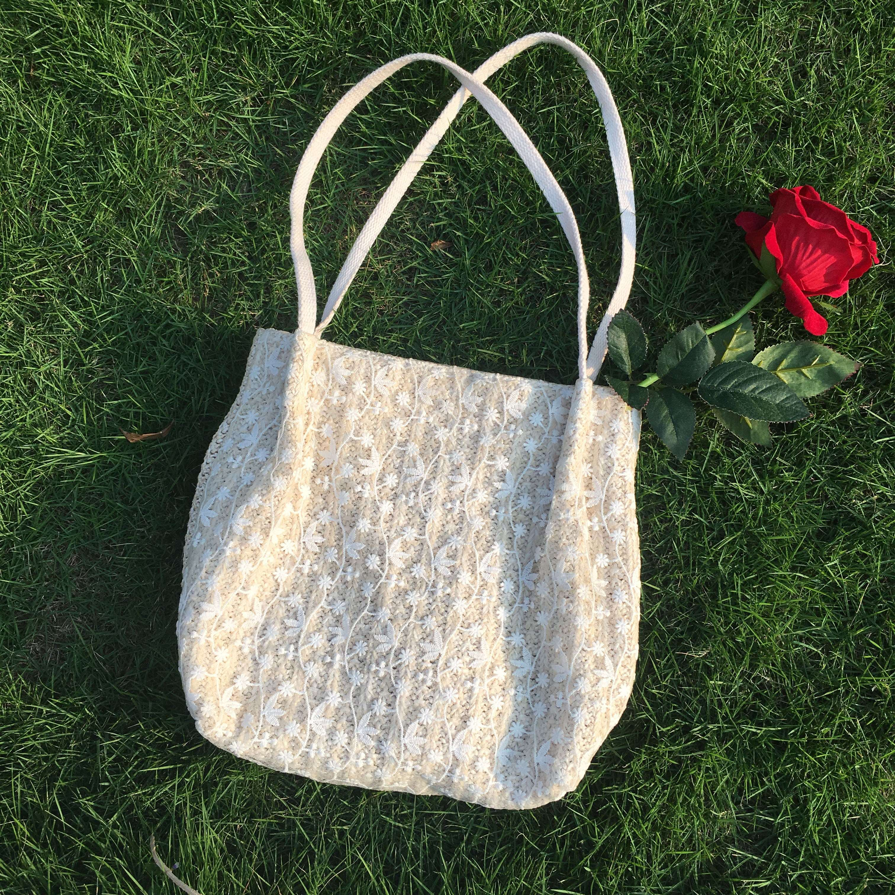 Spring bag small fresh spring and summer fairy lace large capacity bucket hand-held straw woven bag single shoulder shopping bag