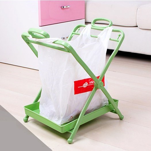Foldable garbage rack with tray plastic bag storage bracket, kitchen big handbag garbage bag bracket hanging.