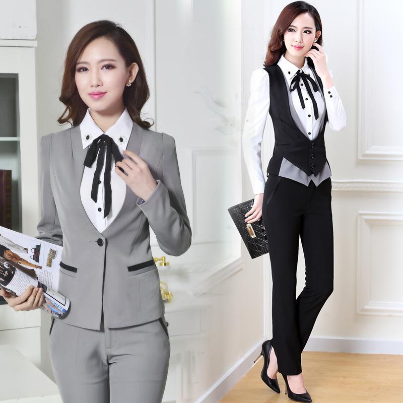 马甲西装套裤智能三件套女装职业套装衬衣马夹西裤工装修身空姐服