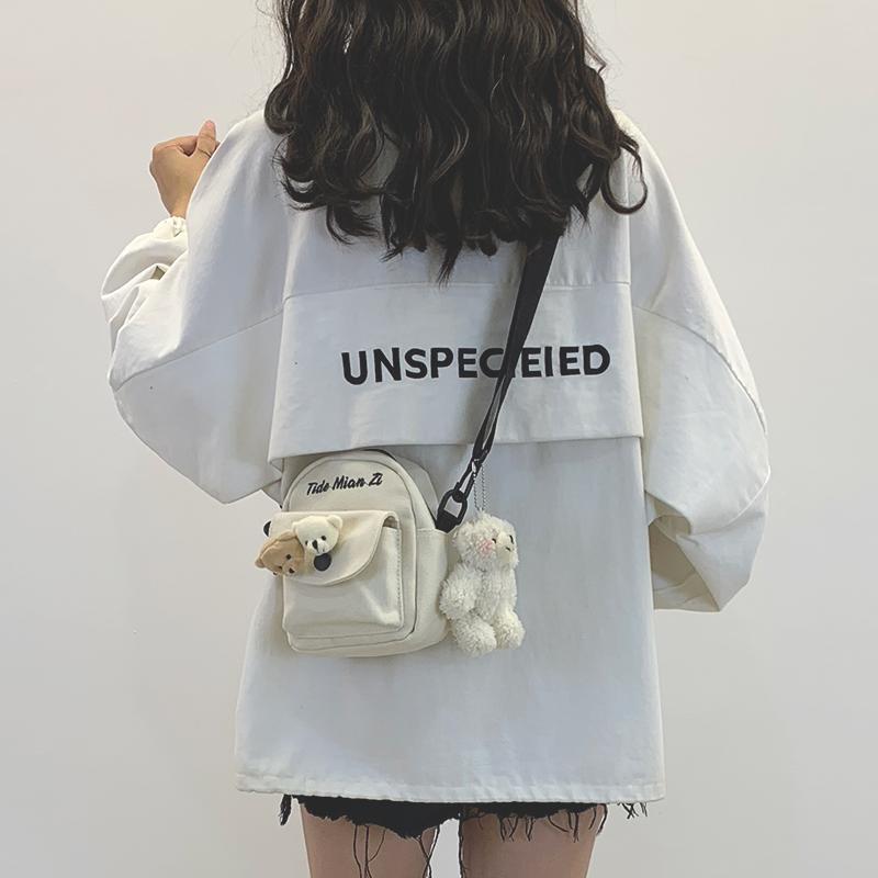 可爱小包包女2020新款网红帆布少女日系原宿学生百搭ins斜挎包女
