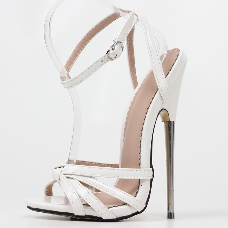 欧美18厘米金属超细高跟脚踝腕带性感时尚大码高跟凉鞋男女通用款