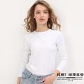 白色圆领t恤不透纯棉感v薄打底衫
