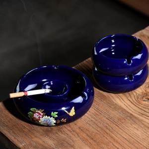 寝室裂纹居家ins陶瓷烟灰缸创意个性带盖欧式潮流防飞灰茶几北欧