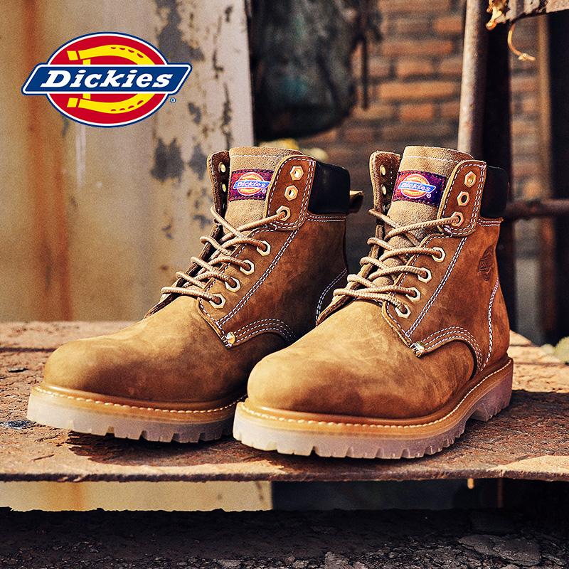 Dickies男士2020秋冬新款馬丁鞋大黃高幫工裝靴真皮厚底短筒靴子
