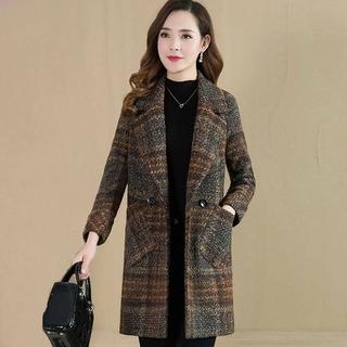 中老年大码女装呢子大衣女中长款妈妈装韩版春装新款格子毛呢外套