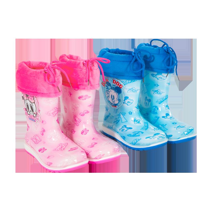 巴布豆儿童棉雨鞋加绒保暖可拆卸防滑学生防水鞋男女防滑雨靴