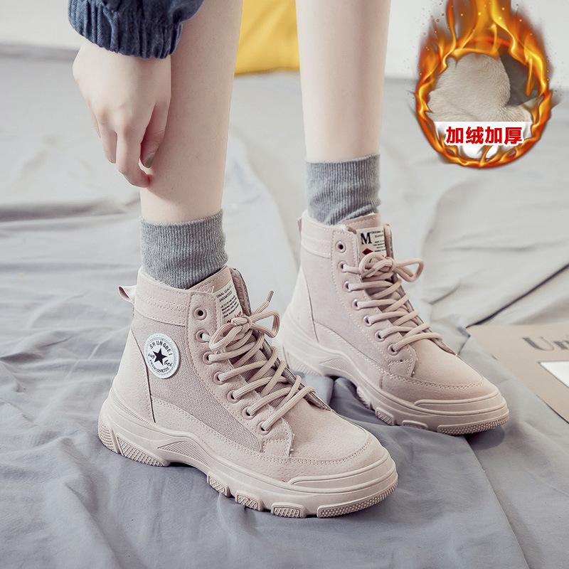 网红马丁靴女2019新款百搭英伦风靴子秋冬加绒保暖短靴机车靴时尚