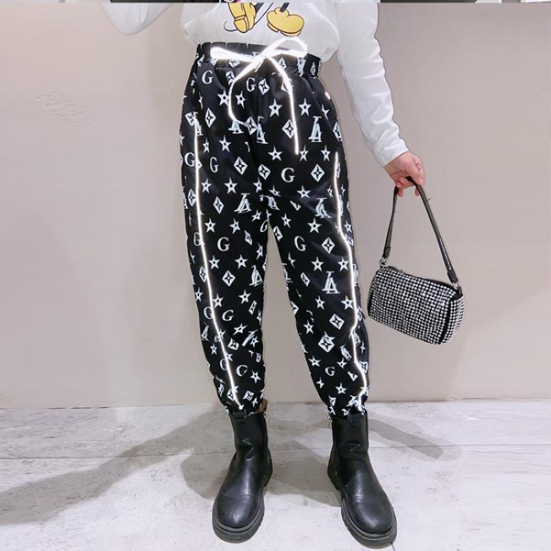 High grade customized pants for children women 2021 autumn movement new childrens foreign style l-season pants for big children leisure luxury