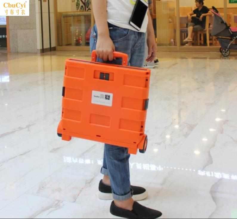 Compact luggage with wheel folding. Mini shopping cart girl heart back-up box trolley tugboat bag