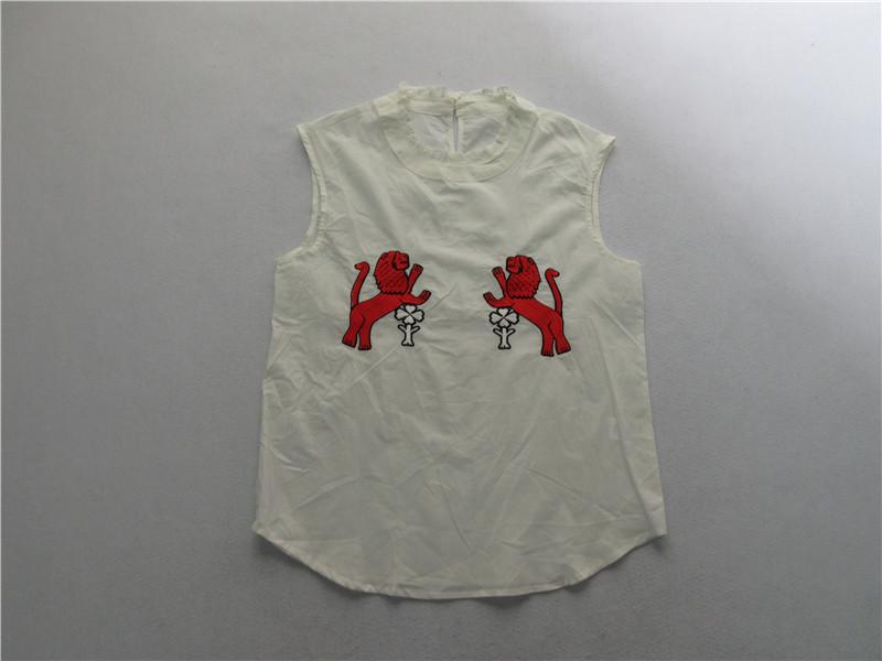 甜美气质g 两色入全棉刺绣图案 背心H上衣SML码05B21-04