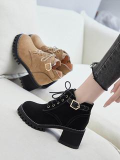 马丁靴女鞋英伦风半靴子2020新款百搭高跟短靴粗跟春秋款单靴冬季