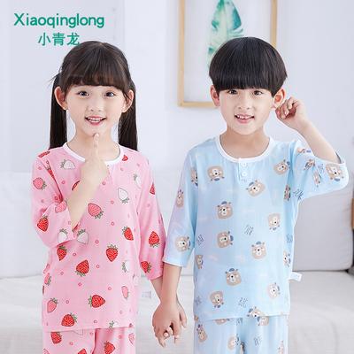夏季棉绸男童八分空调套装睡衣