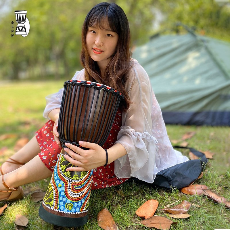 Mail Lijiang tambourine beginners manual introduction 10 inch 12 inch African adult beat drum beat percussion instrument