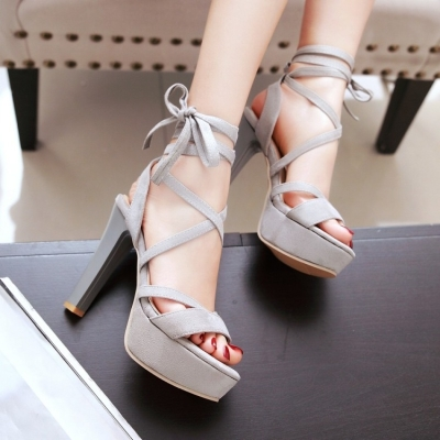 Roman super high heeled womens thick heeled sandals waterproof platform fashion shoes new ankle strap frosted womens nightclub large