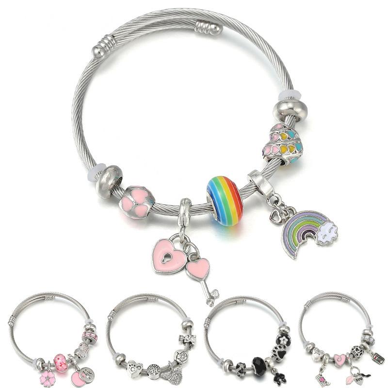 Titanium steel stainless steel DIY asymmetric beaded bracelet jewelry to show modern love charm womens Bracelet