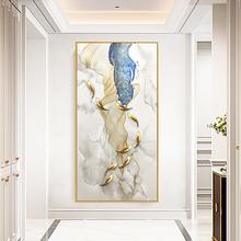 纯手绘轻奢九鱼图立体玄关装饰画竖版大幅走廊壁画客厅挂画油画