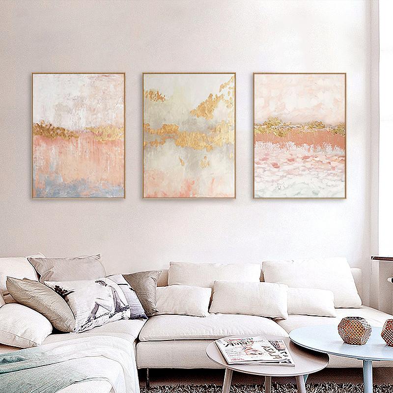 手绘油画现代简约客厅沙发粉色挂画