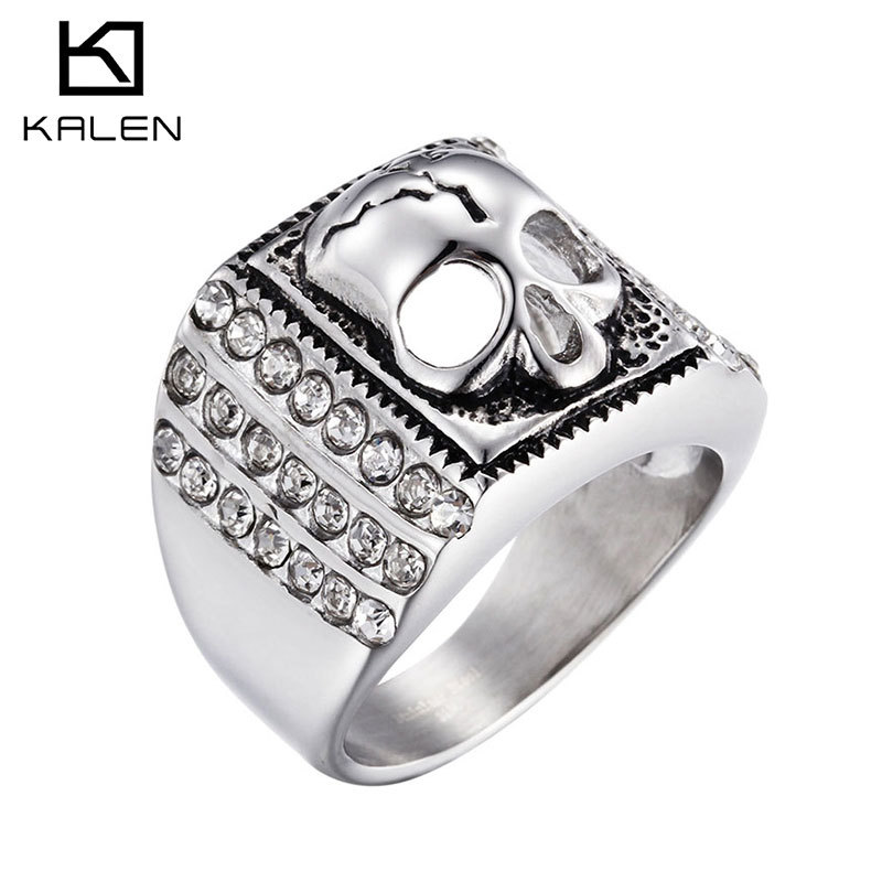 Personality rock punk rings fashion jewelry foreign trade hot skull titanium steel man