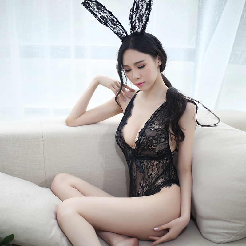 Sexy lingerie role play lace rabbit girl tight open back sexy lace set transparent perspective low chest Sao