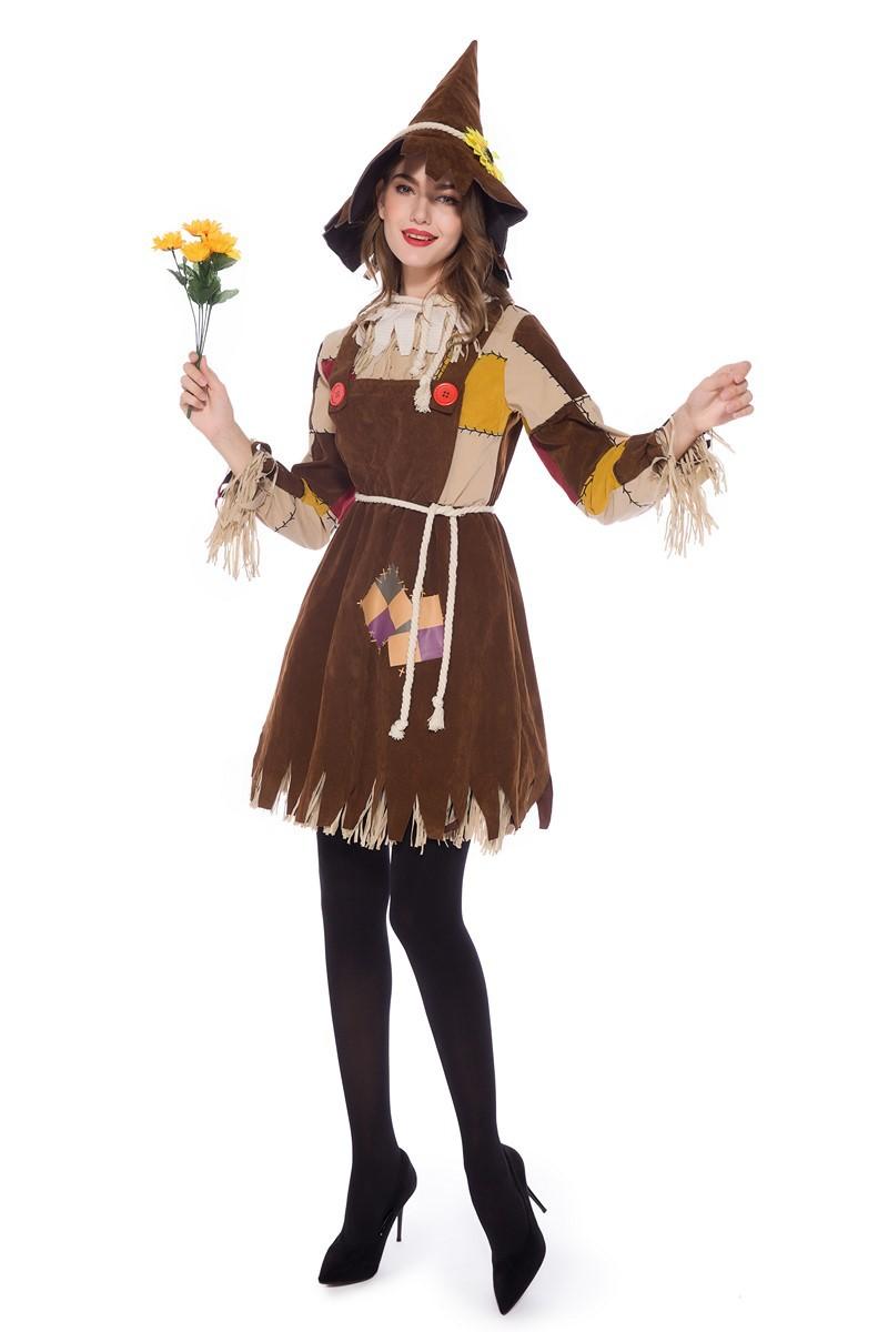 新款绿野仙踪成人草人角色扮演演出服装巫野人木偶服派对服装女