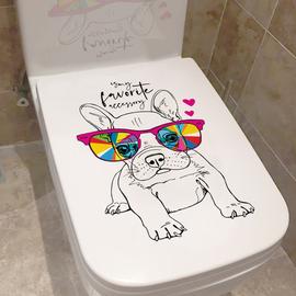 马桶盖贴纸防水卫生间卡通创意酷狗个性坐便器提盖水箱自粘可移除
