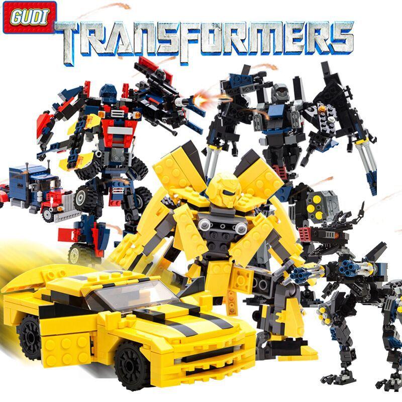 古迪男孩益智拼插塑料玩具积木 黄蜂人车2合一恐龙机器人拼装积木34.00元包邮