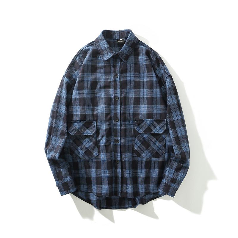 蓝黑格子衬衫