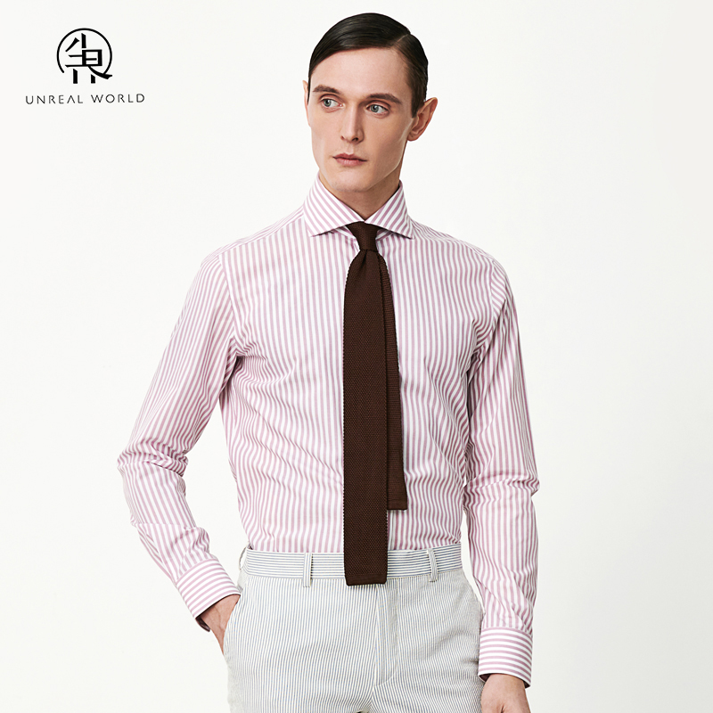 Dust world pink vertical stripe shirt mens long sleeve business dress fashion casual Windsor collar professional work shirt