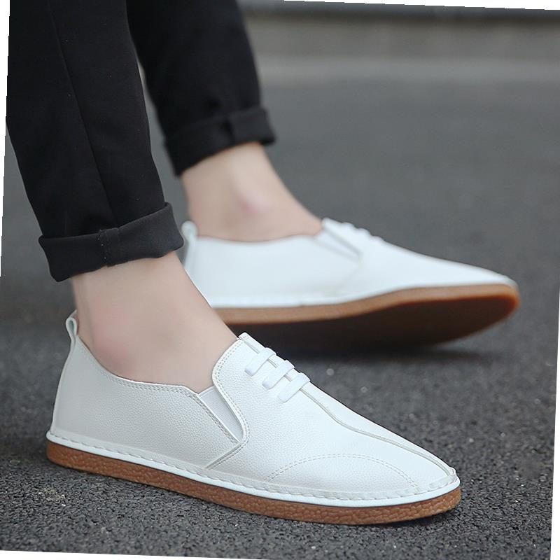 Japanese leather shoes mens casual shoes spring mens shoes Korean fashion Doudou spring lazy shoes