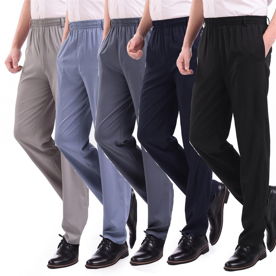 Middle aged and elderly summer ice silk pants mens casual pants ultra thin ice silk silk elastic waist elderly dad quick drying long pants