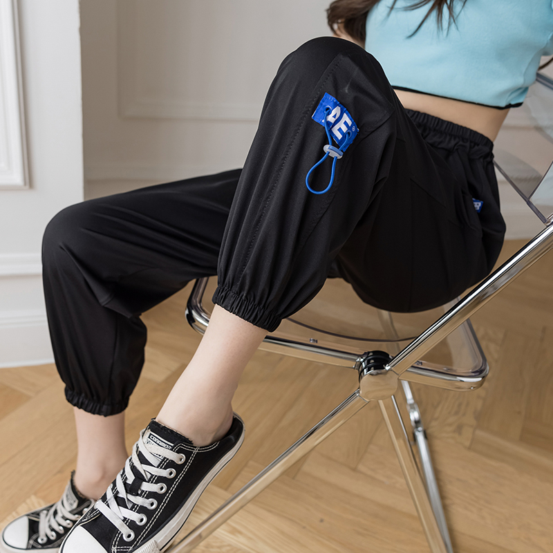 冰丝速干运动裤女2021夏季薄款宽松束脚显瘦防蚊时尚休闲凉凉裤