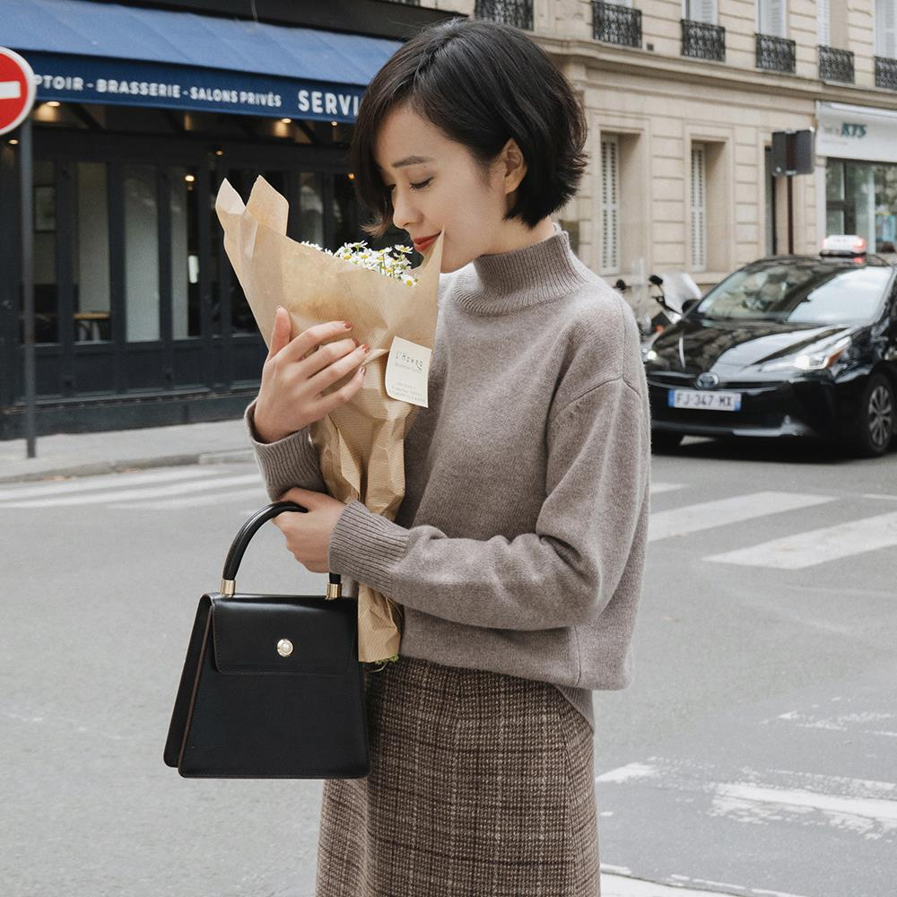 Autumn and winter simple basic half high Crew Neck Sweater solid color loose knit sweater womens m4613