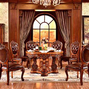 欧式全实木餐桌椅组合大理石美式大户型1.8饭桌10-12人圆桌/1.5米