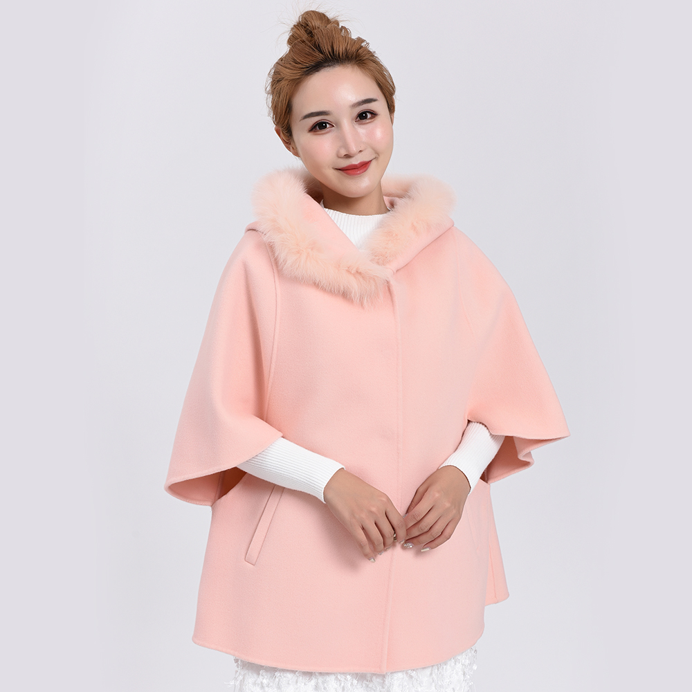 407 double face fluffy coat Cape wool coat womens middle and long loose shawl