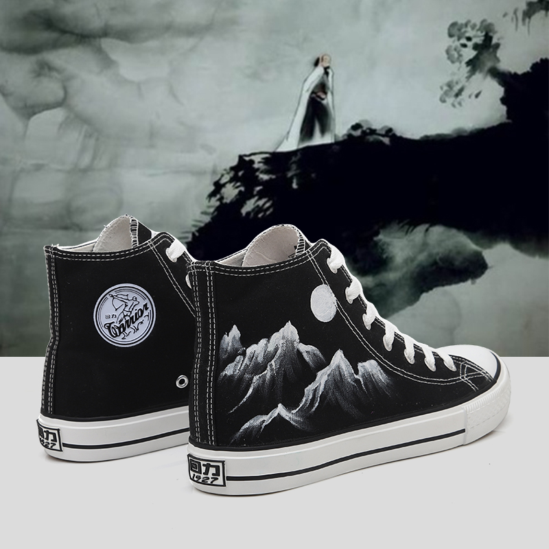 Huili explosion modified canvas shoes high top Sesame Street hand-painted co branded Cherry Blossom limited edition womens shoes diffuse modification graffiti Matcha green