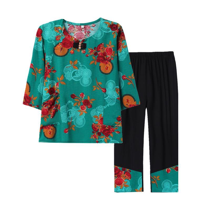新装特大码老年胖奶奶装俩件套外套以上恤女装150斤女士轻薄160斤