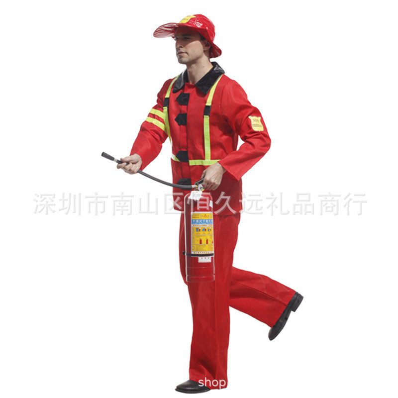 Masquerade ball fireman Cosplay performance costume fireman costume role play Halloween man