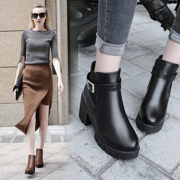 Spring and autumn British style retro round head Martin boots womens short boots thick heel high heel waterproof platform students shaving leather womens single shoes