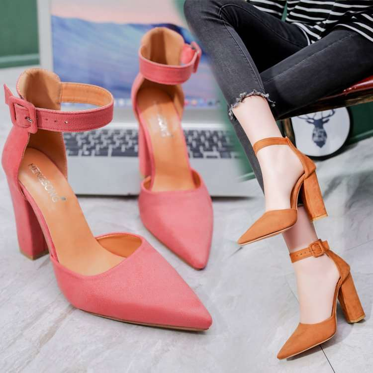 Large size 43 2019 US pointed thick heeled suede nude High Heels Sandals female