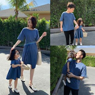 親子裝2020夏裝洋氣母女裝連衣裙一家三四口短袖T恤姐弟裝家庭裝