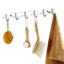 Hook a row of wall-hanging coat hooks long strip free punching bathroom kitchen stainless steel metal hanger hooks